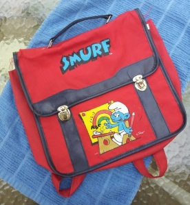 vintage smurf backback 1980s school
